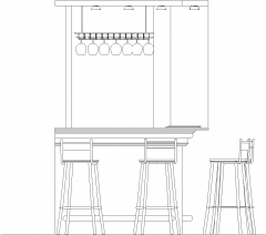 1908mm Wide Mini Bar Counter Shelves with Bar Stools and Wine Glass Holder Left Side Elevation dwg Drawing