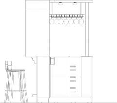 1908mm Wide Mini Bar Counter Shelves with Bar Stools and Wine Glass Holder Right Side Elevation dwg Drawing