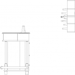 1879mm Wide Mini Bar Counter with Bar Stools and Wine Glass Shelves Left Side Elevation dwg Drawing