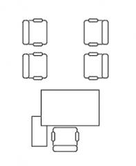 Möbel Büro-Schreibtisch-4 Stuhl Plan dwg