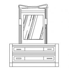 furniture bedroom cabinet-mirror elevation  dwg