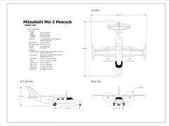 2D Mitsubishi MU-2 Peacock (Scale 1:60)