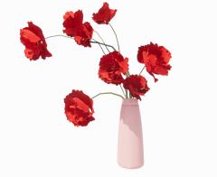 Red flower vase revit family