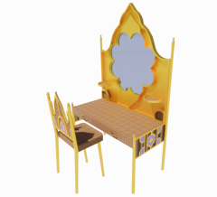 Royal wooden make-up table and chair revit family