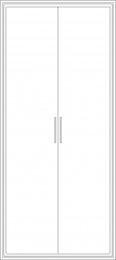 2000mm Height Tall Unit Closet with Double Door Front Elevation dwg Drawing