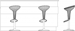 2015mm Wide Bar Counter with Sink and Four Bar Stools Left Side Elevation dwg Drawing