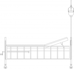 2060mm Wide Hospital Bed with Dextrose Handle Right Side Elevation dwg Drawing