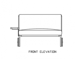 2080mm Height Sofa Bed Rattan Made with Steel Feet Front Elevation dwg Drawing