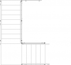 2139mm Wide Steel Railings with Glass Stairs Plan dwg Drawing