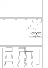 2160mm Wide Mini Bar Counter with Three Bar Stool and Shelves Right Side Elevation dwg Drawing