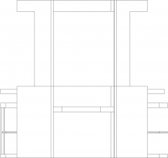 2258mm Wide Wooden Bar Counter with Wine Glass Storage Right Side Elevation dwg Drawing