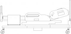 2293mm Wide Adjustable Hospital Bed Rear Elevation dwg Drawing