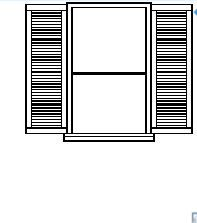 Window with 2 panels in elevation view dwg model
