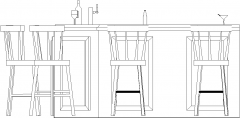 2387mm Wide Bar Counter with Drawers and Bar Stools Right Side Elevation dwg Drawing