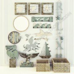 木製の壁の装飾家具を参照3dsmax