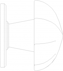 24mm Diameter Flower Shape Cabinet Door Handle Left Side Elevation dwg Drawing