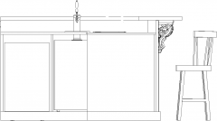 2527mm Wide Wooden Bar Counter with Faucet and Drawers Rear Elevation dwg Drawing