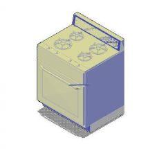 4 quemador del horno Rango 3D AutoCAD DWG