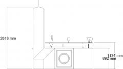 2550mm Wide Curve Design Bar Counter with Shelves Left Side Elevation dwg Drawing