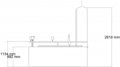 2550mm Wide Curve Design Bar Counter with Shelves Right Side Elevation dwg Drawing