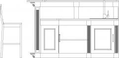 2564mm Wide Wooden Bar Counter with Wine Storage and Bar Stools Right Side Elevation dwg Drawing