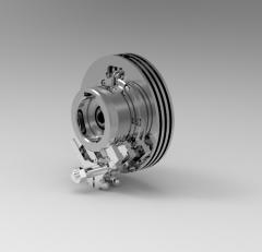 Autodesk Inventor 3D CAD Model of EM Powder clutch with radiator, torque 120Nm.