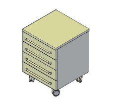 Comodino 3D CAD cassettiera