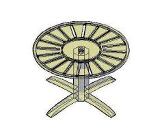 Круглый Садовый стол 3D Dwg