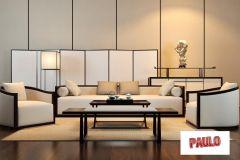 带白色沙发和矩形落地灯的客厅设计3ds Max