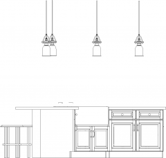 2844mm Wide Bar Counter with Lights and Six Bar Stools Rear Elevation dwg Drawing