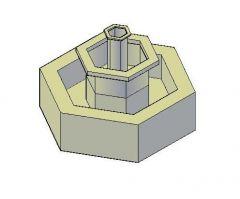 Hexagonal-Wasser-Brunnen 3D dwg Modell