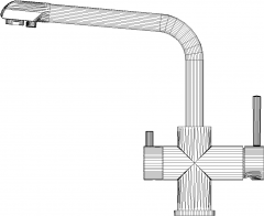 285mm Length Pull Down Kitchen Faucet Right Side Elevation dwg Drawing