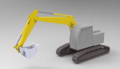 Solid-works 3D CAD Model of Crawler excavator