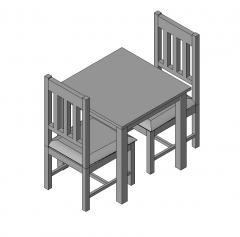 2 seater dining table and chairs Revit model