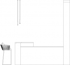 3026mm Wide Bar Counter with Four Bar Stools Right Side Elevation dwg Drawing