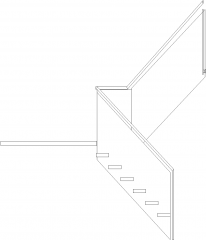3049mm Wide Steel Support Spiral Stairs with Glass Railings Left Side Elevation dwg Drawing