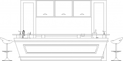 3230mm Height Bar Counter Glass Top with Shelves and Four Bar Stools Front Elevation dwg Drawing