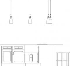 3255mm Wide Bar Counter with Lights and Six Bar Stools Left Side Elevation dwg Drawing