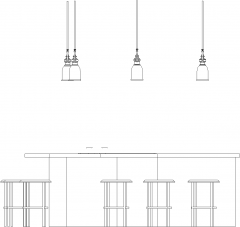 3255mm Wide Bar Counter with Lights and Six Bar Stools Right Side Elevation dwg Drawing