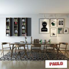 Lesesaal weißer Holztisch und Stühle 3ds max