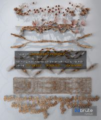 Wall art metal golden decoration 3ds max