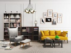 Living room design with yellow sofa 3ds max
