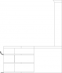 3490mm Wide Bar Counter with Four Bar Stools and Shelves Right Side Elevation dwg Drawing