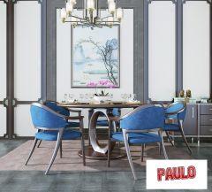 Esszimmerdesign mit blauen Stühlen 3ds max