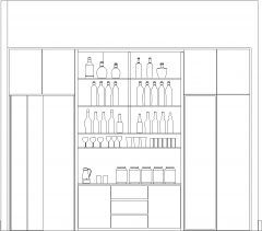 3756mm Height Wine Cabinet Front Elevation dwg Drawing
