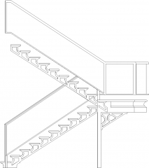 3769mm Height Steel Made Staircase withGlass Handrails and Wooden Threads Front Elevation dwg Drawing