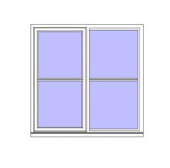 Double Window with Horizontal Bars Revit Family