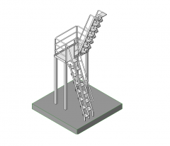 Industrial paddle staircase Revit model