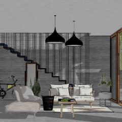 联排别墅客厅设计与自行车设计skp