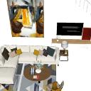 Diseño de sala de estar con sofá blanco y almohadas de colores skp